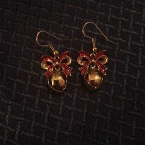 Avon Goldtone Jingle Bell Enamel Bow Earrings